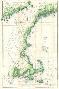 1859 U.S. Coast Survey Map of the New England Coast by Paul Fearn