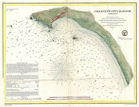 1859 U.S. Coast Survey Map or Nautical Chart of Crescent City, California  by Paul Fearn