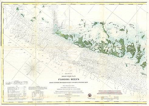 1859 U.S. Coast Survey Map or Nautical Chart of the Florida Keys and Key West by Paul Fearn