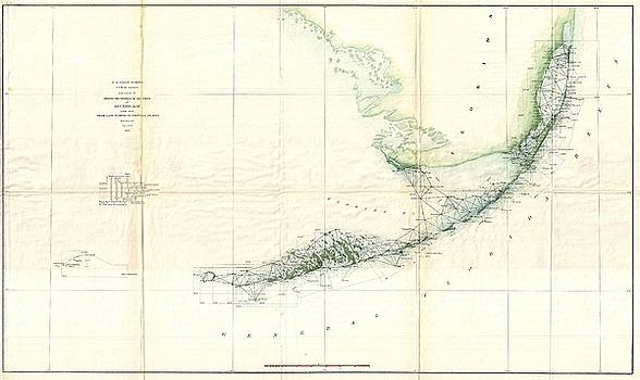 1859 U.S. Coast Survey Triangulation Map of the Florida Keys  by Paul Fearn