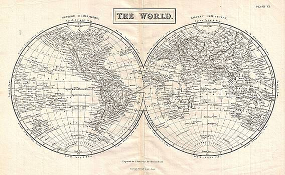 1860 Black Map of the World by Paul Fearn