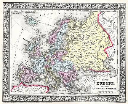 1860 Mitchell Map of Europe by Paul Fearn