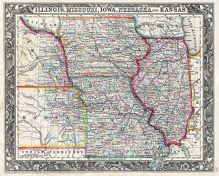 1860 Mitchell Map of Iowa, Missouri, Illinois, Nebraska and Kansas by Paul Fearn