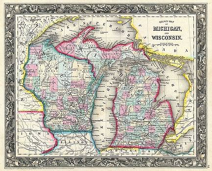 1860 Mitchell Map of Michigan and Wisconsin by Paul Fearn
