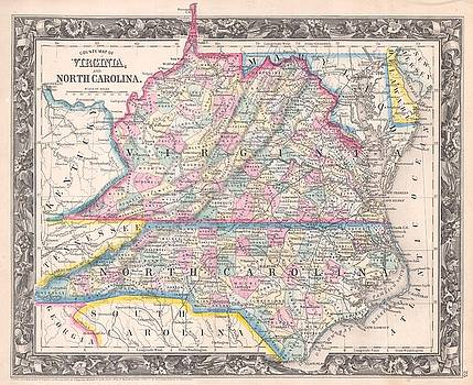 1860 Mitchell Map of Virginia  and North Carolina by Paul Fearn