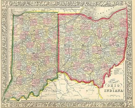 1860 Mitchell's Map of Ohio and Indiana by Paul Fearn