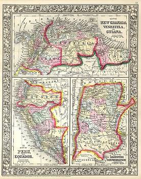 1860 Mitchell's Map of Peru, Ecuador, Venezuela, Columbia and Argentina by Paul Fearn