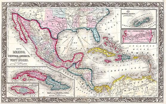1860 Mitchell's Map of the West Indies, Mexico and Central America by Paul Fearn
