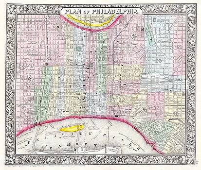 1860 Mitchell's Street Map of Philadelphia by Paul Fearn
