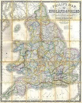 1860 Philips Folding or Pocket Map of England and Wales by Paul Fearn