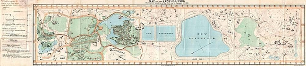 1860 Pocket Map of Central Park, New York City by Paul Fearn