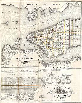 1860 Valentine Map of New York City by Paul Fearn