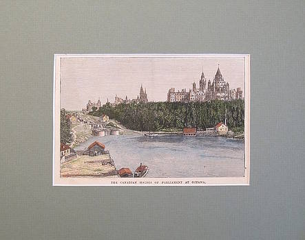 1860s Engraving of the Parliament of Ottawa, Hand coloured by Unknown