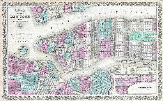 1861 Colton Map of New York City w- Brooklyn, Manhattan, and Hoboken by Paul Fearn