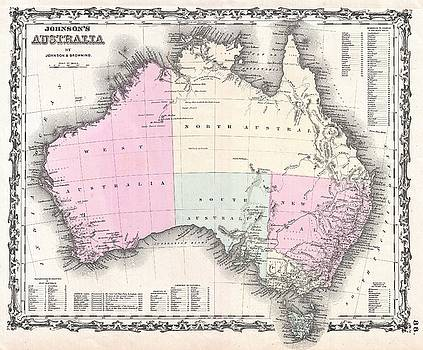 1861 Johnson and Browning Map of Australia  by Paul Fearn