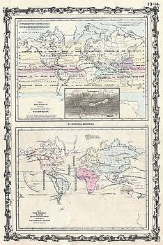 1861 Johnson Climate Map of the World w- Meteorology, Rainfall, and Plants by Paul Fearn