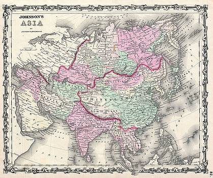1861 Johnson Map of Asia by Paul Fearn