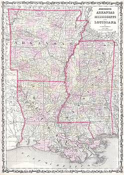 1861 Johnson Map of Mississippi, Louisiana , Arkansas by Paul Fearn