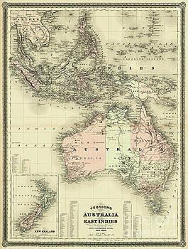 1867 Australia and East Indies Vintage Map by Carsten Reisinger
