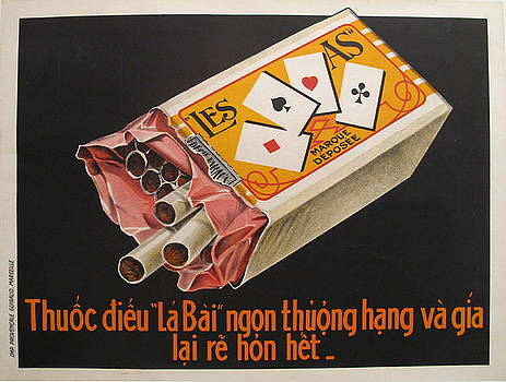 1915 Vietnamese Cigarette Poster, La Bai / Les As by Unknown