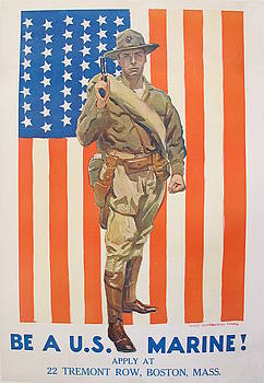 1918 Original American WW1 Marine Recruitment Propaganda Poster, Be a US Marine by Flagg by James Montgomery Flagg