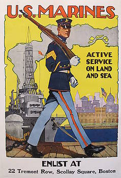 1918 Vintage American WW1 Marine Poster, Active Service on Land and Sea by Sidney Riesenberg by Sidney H Riesenberg