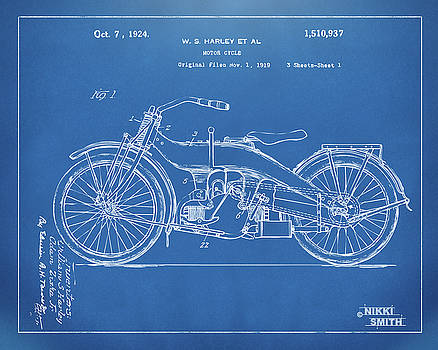 1924 Harley Motorcycle Patent Artwork Blueprint by Nikki Marie Smith