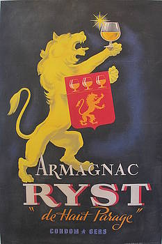 1930s French Vintage Art Deco Brandy Poster, Armagnac Ryst by Unknown