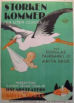 1930s Original Vintage Danish Movie Poster, Stroken Kommer by Eric Rohman by Eric Rohman