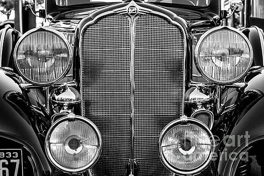 1933 Buick Series 50 Coupe Close-up - Black and White by Gary Whitton