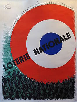 1935 Original French Art Deco Poster, Loterie Nationale Advertisement, Circles by Rene Ravo by Rene Ravo