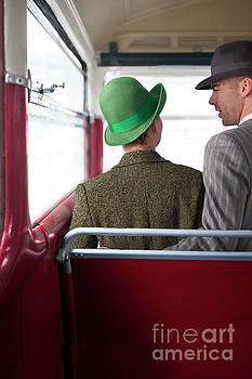 1940s Couple On A Vintage Bus by Lee Avison