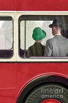 1940s Couple Sitting On A Vintage London Bus by Lee Avison