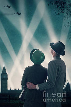 1940s Couple Watching The Battle Of Britain Over London by Lee Avison