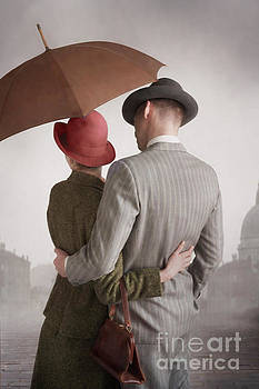 1940s Couple With Umbrella In Rain by Lee Avison