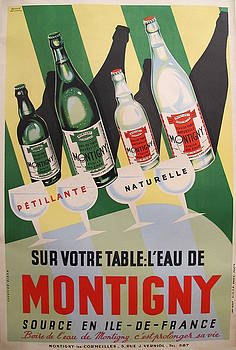 1940s French Art Deco Montigny Bottled Water Poster - Bernard Delcourt by Bernard Delcourt