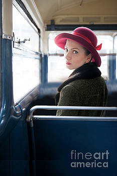 1940s Woman On A Vintage Bus by Lee Avison