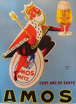1948 Vintage Art Deco Poster, Amos Pilz Beer Ad, Cent Ans de Sante by Raymond Gay