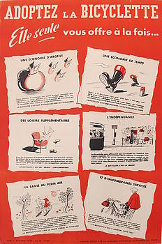 1950s Vintage French Bicycle Advertisment, Adoptez la Bicyclette by J Bazaine by J Bazaine