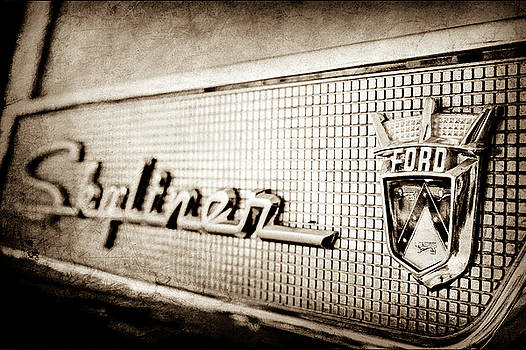 1958 Ford Fairlane Skyliner Hardtop Convertible Emblem -0437s by Jill Reger