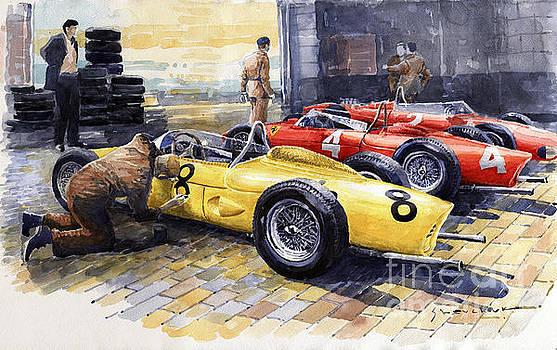 1961 Spa-Francorchamps Ferrari garage Ferrari 156 Sharknose  by Yuriy Shevchuk