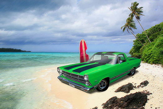 1967 Ford Ranchero at High Tide by Chas Sinklier