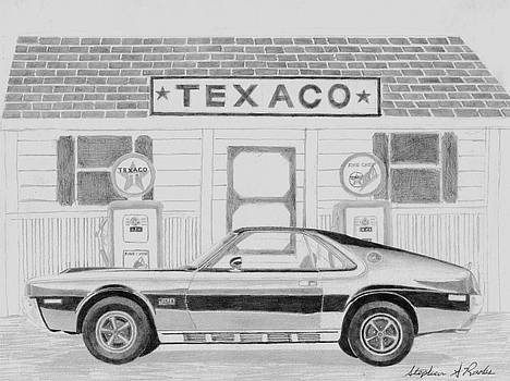 1970 AMX Javelin Side View MUSCLE CAR ART PRINT by Stephen Rooks