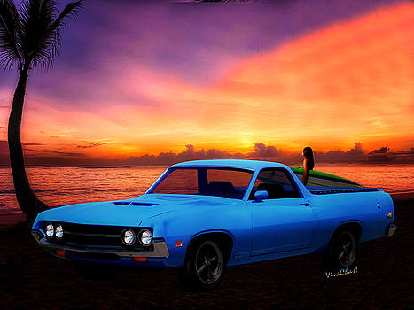 1970 Ranchero Dominican Beach Sunrise by Chas Sinklier