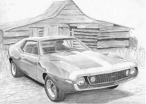 1971 AMC AMX Javelin MUSCLE CAR ART PRINT by Stephen Rooks