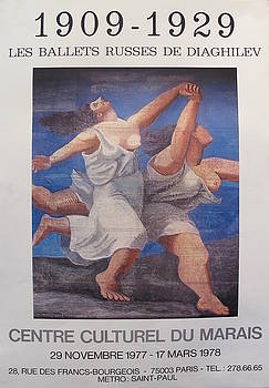 1977 Original Picasso Exhibition Poster, Ballets Russes de Diaghilev - Pablo Picasso by Pablo Picasso