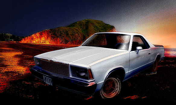 1978 El Camino onna New Zealand Beach by Chas Sinklier