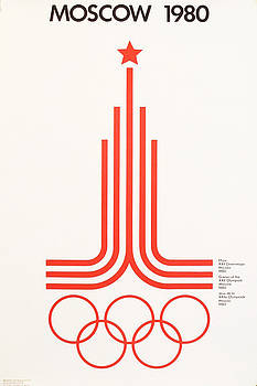 1980 Original Moscow Olympics Poster, Red and White Logo by Anonymous