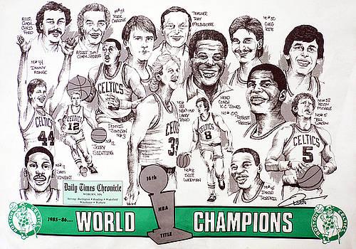 1986 Boston Celtics Championship newspaper Poster by Dave Olsen