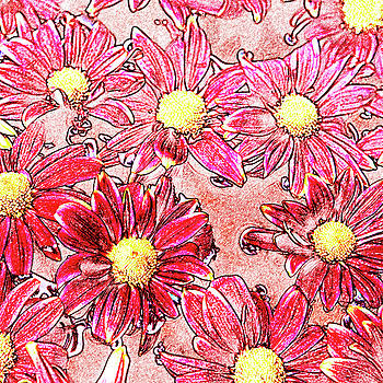 Chrysanthemums In Water by Skip Nall